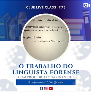 Read more about the article Live: O Trabalho do Linguista Forense